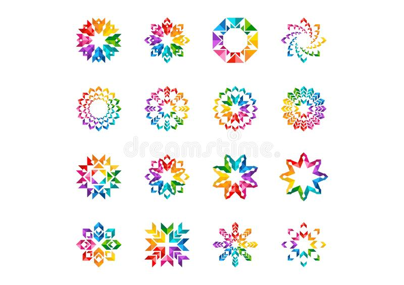 Abstraktes modernes Elementlogo, Kreisregenbogenblumen, Satz von rundem Blumen, Sterne, Pfeile und Sonnensymbolikone vector Desig lizenzfreie abbildung
