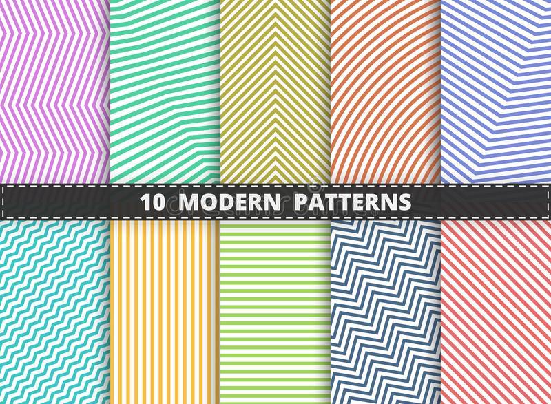 Abstraktes modernes Muster der bunten Streifenlinie Satzhintergrund Verzierung für die Verpackung, Anzeige, Plakat, Grafikentwurf vektor abbildung