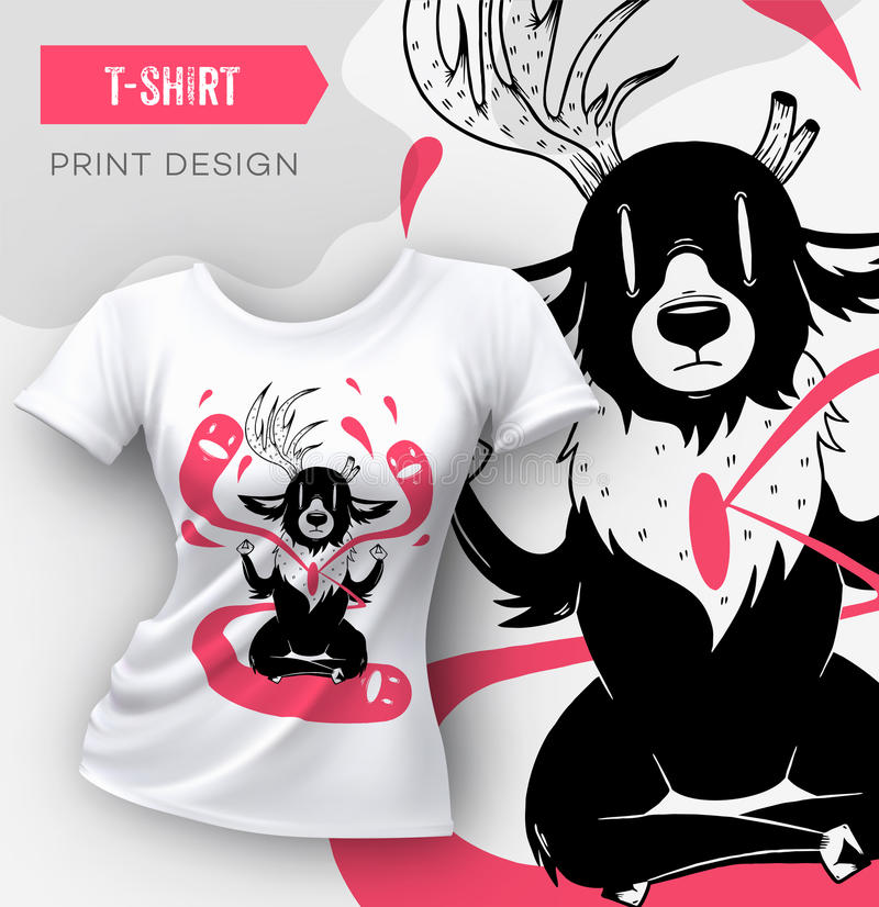 Abstraktes modernes T-Shirt Druckdesign mit Rotwild lizenzfreie abbildung