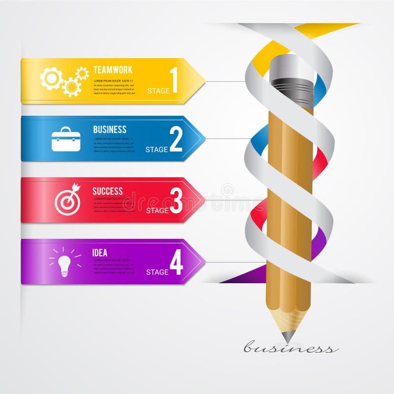 Abstraktes modernes Vektor-Fahne infographics der Schablone 3D Geschäft vektor abbildung
