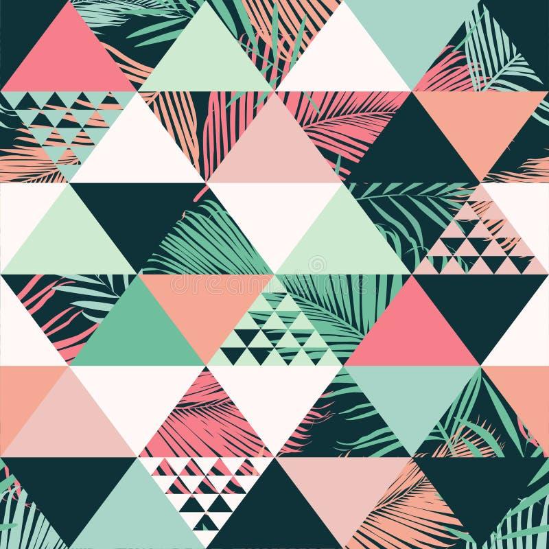 Abstraktes modisches nahtloses Muster, erläuterte tropische Blätter des Blumenvektors Tapetendruckhintergrund vektor abbildung