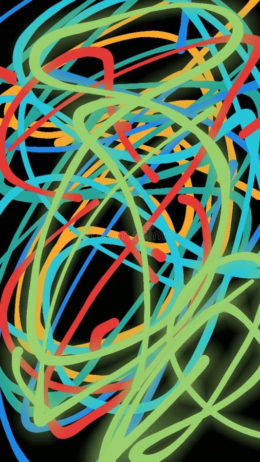 Abstraktes Muster, auf einem schwarzen Hintergrund, dünne mehrfarbige Spiralen, die in einer chaotischen Art sich verflechten stock abbildung