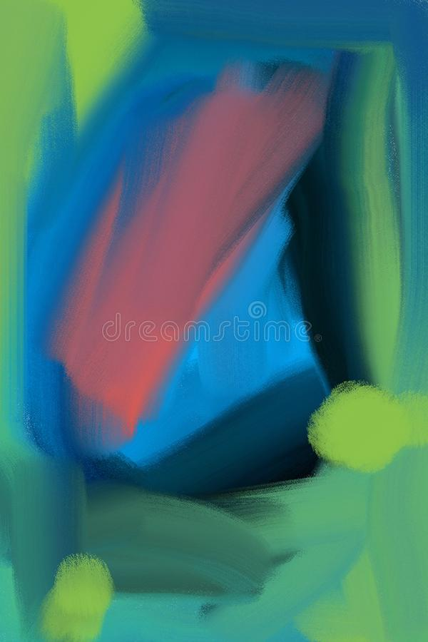 Abstraktes Muster in den grünen und blauen Farben mit einer hellen rosa Stelle in der Mitte, kann als Hintergrund benutzt werden lizenzfreie abbildung