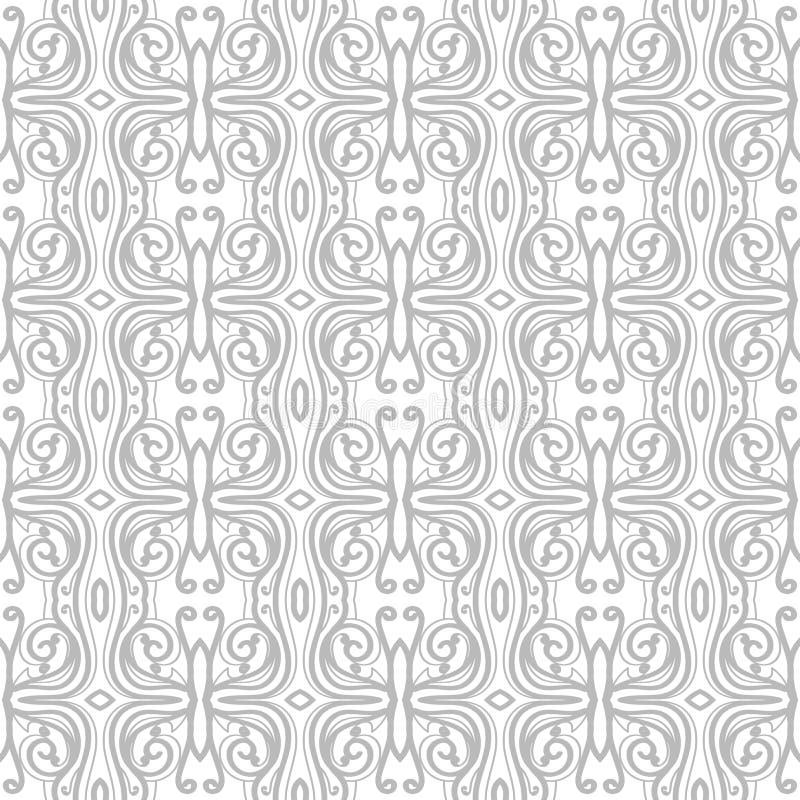 Abstraktes Muster in der arabischen Art Nahtloser vektorhintergrund Graue und weiße Beschaffenheit lizenzfreie abbildung