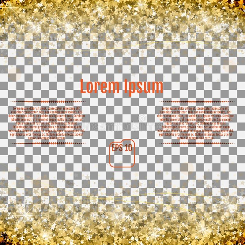 Abstraktes Muster des gelegentlichen fallenden Goldes spielt auf transparentem BAC die Hauptrolle stock abbildung