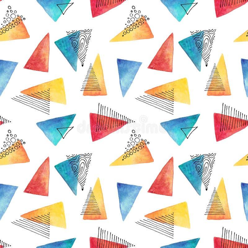 Abstraktes Muster mit Aquarell- und Tintendreiecken stock abbildung