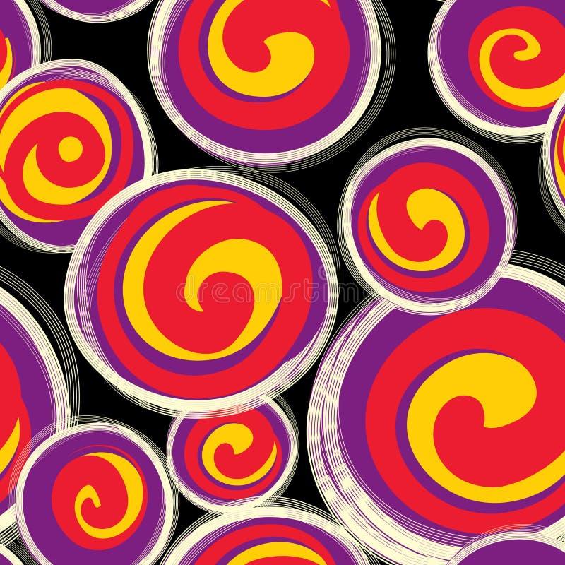 Abstraktes Muster mit Formen der runden Form im Retrostil nahtlos lizenzfreie abbildung