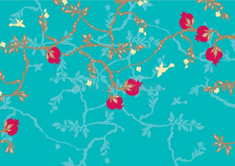 Abstraktes Muster mit Granatapfel auf T?rkishintergrund lizenzfreie abbildung