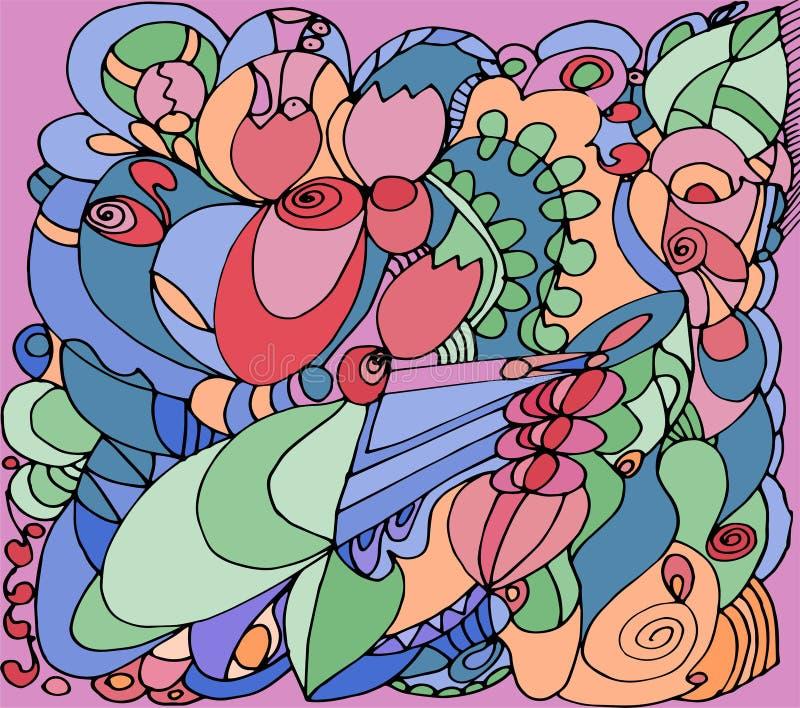 Abstraktes Muster mit Rosen auf rosa Hintergrund stock abbildung