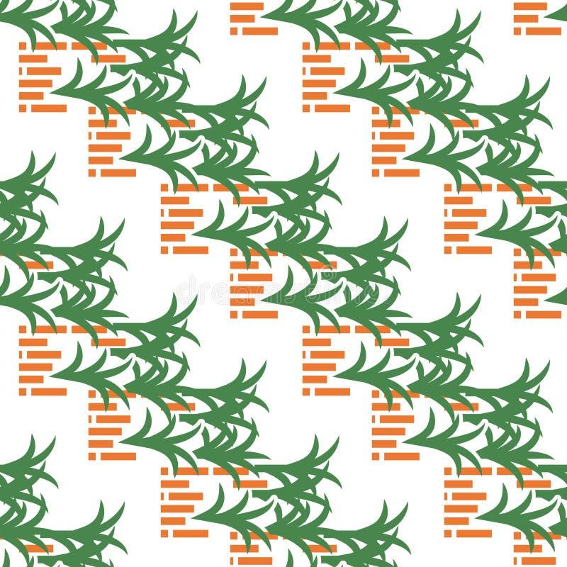 Abstraktes Muster mit Ziegelsteinen und Blättern auf Weiß vektor abbildung