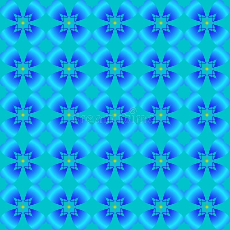 Abstraktes Muster von blauen Blumen lizenzfreie abbildung