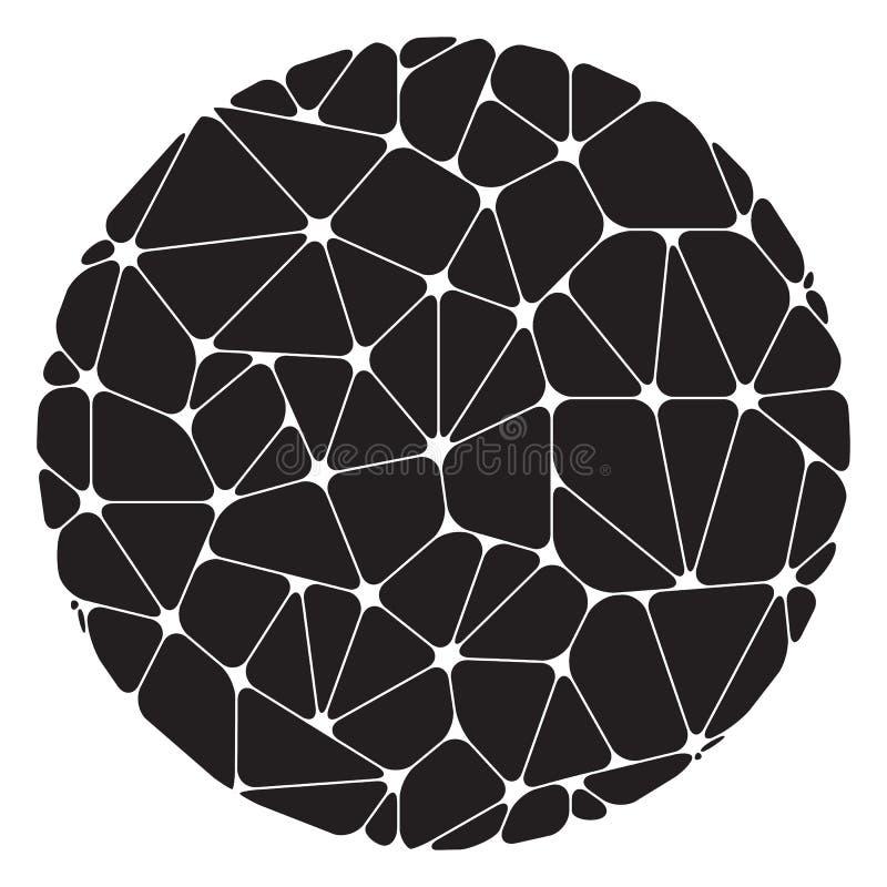Abstraktes Muster von den schwarzen geometrischen Elementen gruppiert in einem Kreis lizenzfreie abbildung