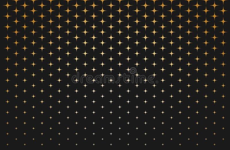 Abstraktes Muster von Skalagoldsternen auf schwarzem Hintergrund stock abbildung