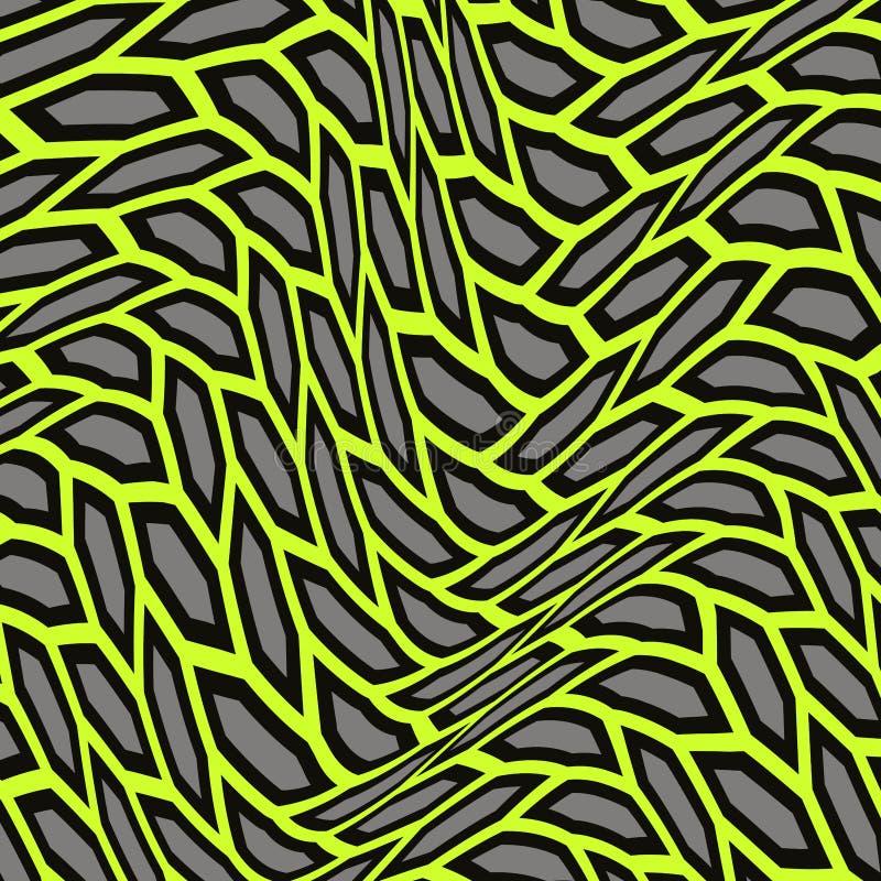 Abstraktes Muster von verzerrten Formen Die geometrische Bewegung von Wellen stock abbildung