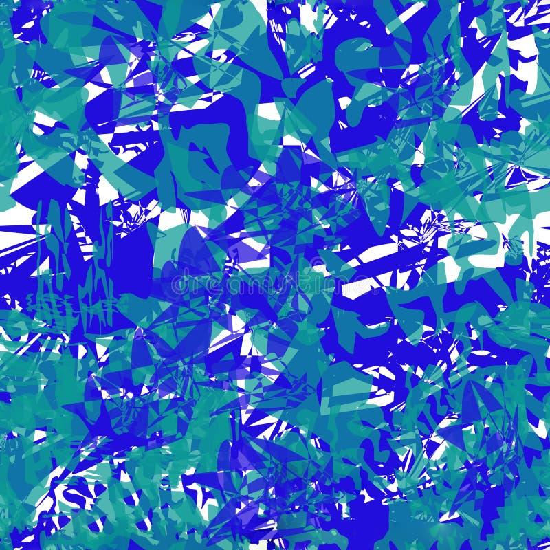 Abstraktes Muster VSeamless von blauen und grünen Stellen und von Linien lizenzfreie abbildung