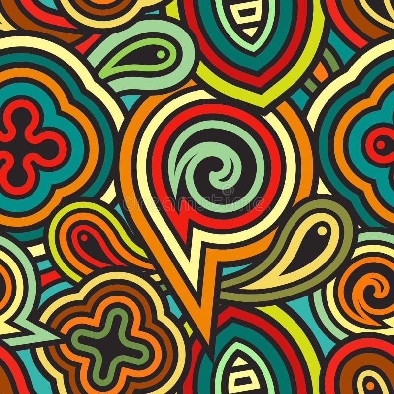 Abstraktes nahtloses geometrisches Muster: Mischung von Streifen und von Formen im Retrostil