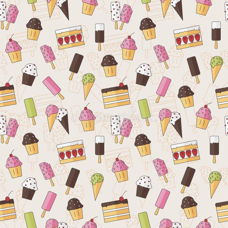 Abstraktes nahtloses Hintergrundmuster mit BonbonEiscreme und Kuchen in der flachen Art Auch im corel abgehobenen Betrag stilvoll stock abbildung