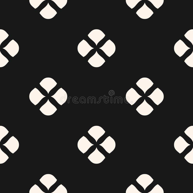 Abstraktes nahtloses mit Blumenmuster Unbedeutende geometrische Schwarzweiss-Beschaffenheit stock abbildung
