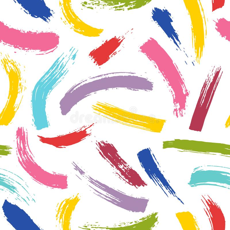 Abstraktes nahtloses Muster Bunte Bürstenanschläge der farbigen Farbe vektor abbildung