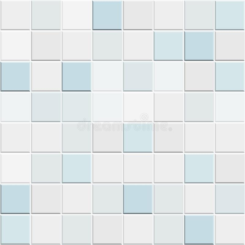 Abstraktes nahtloses Muster der weißen blauen keramischen Wand und der Bodenfliesen Geometrische Mosaikbeschaffenheit des Entwurf stock abbildung