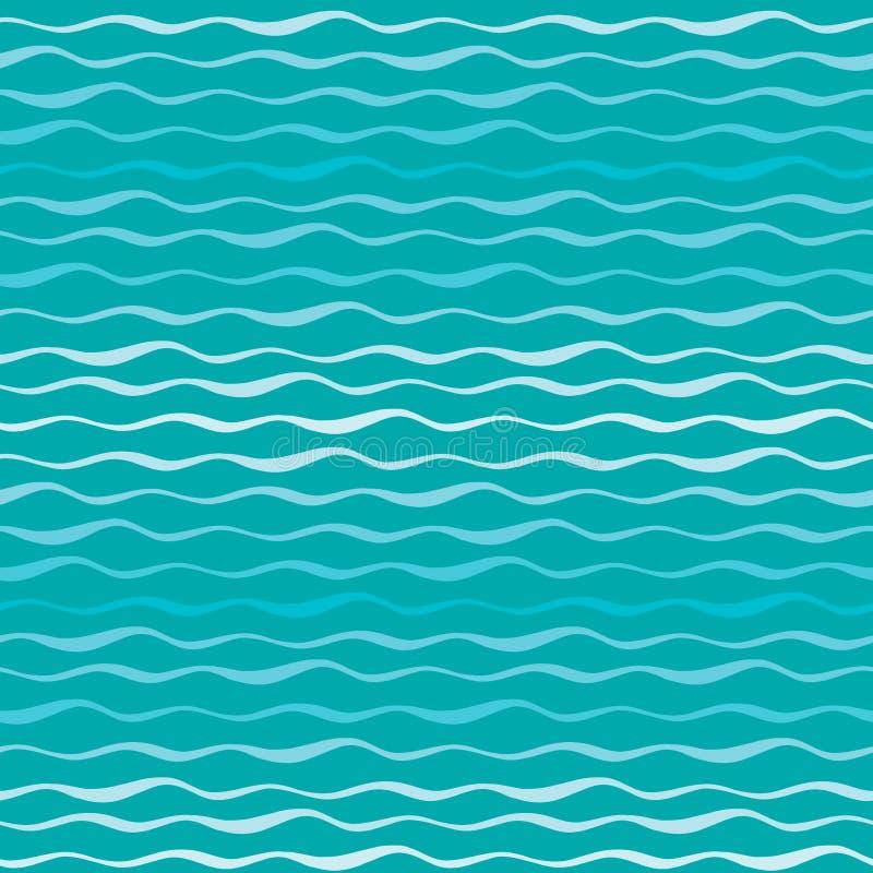 Abstraktes nahtloses Muster des Wellenvektors Gewellte Linien des gezeichneten Hintergrundes des See- oder Ozeanblaus Hand vektor abbildung