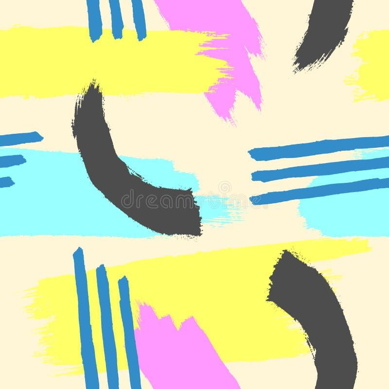 Abstraktes nahtloses Muster eigenhändig gezeichnet mit Aquarellbürste Skizze, Farbe, Schmutz lizenzfreie abbildung