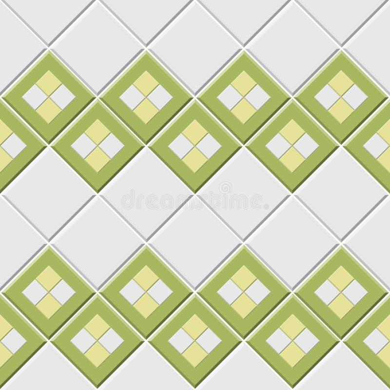 Abstraktes nahtloses Muster, grüne weiße Keramikfliesenwand mit Diamantform-Vektorillustration stock abbildung