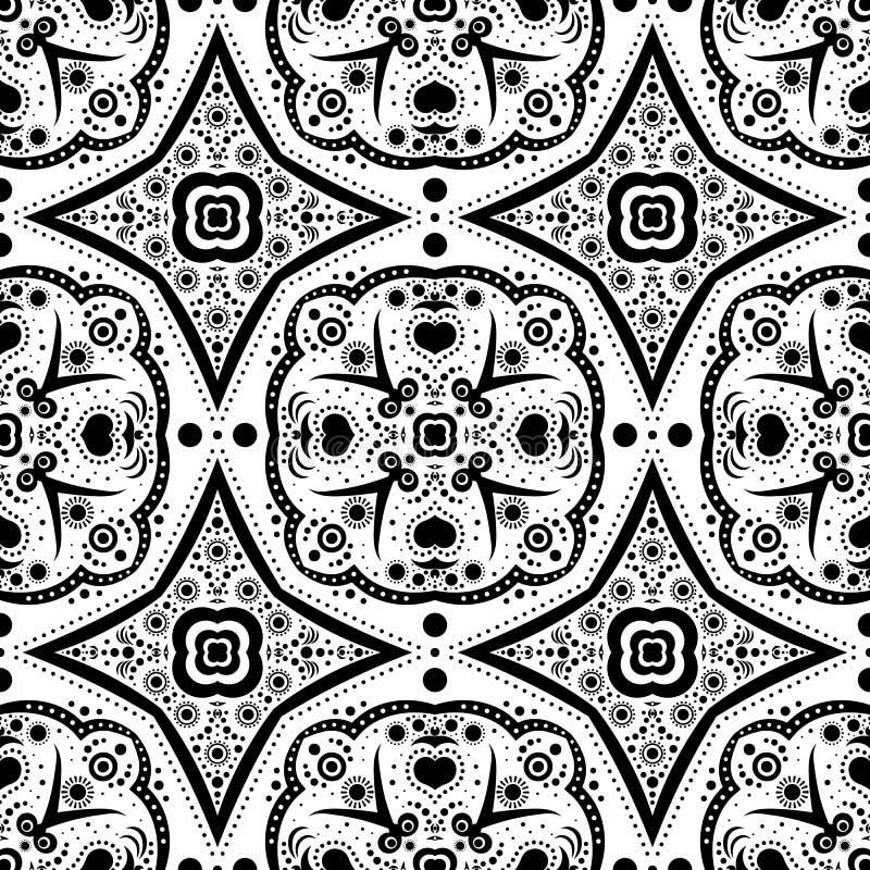 Abstraktes nahtloses Muster mit Blumen und Punkten stock abbildung