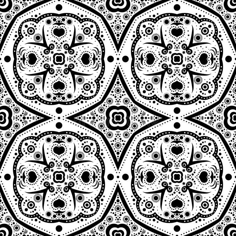 Abstraktes nahtloses Muster mit Blumen und Punkten lizenzfreie abbildung