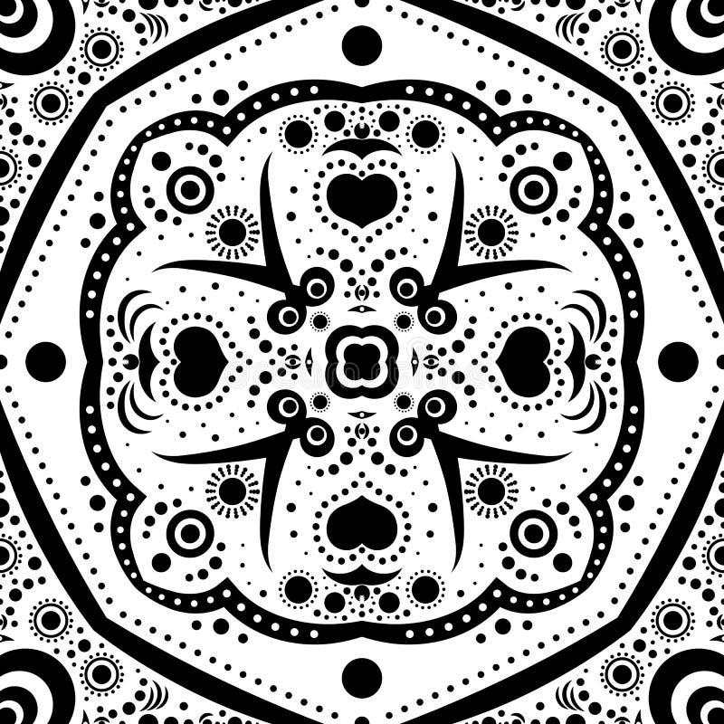 Abstraktes nahtloses Muster mit Blumen und Punkten vektor abbildung