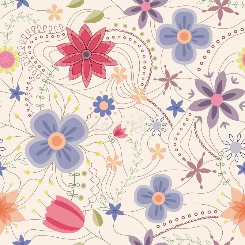 Abstraktes nahtloses Muster mit Blumenweinlese lizenzfreie abbildung