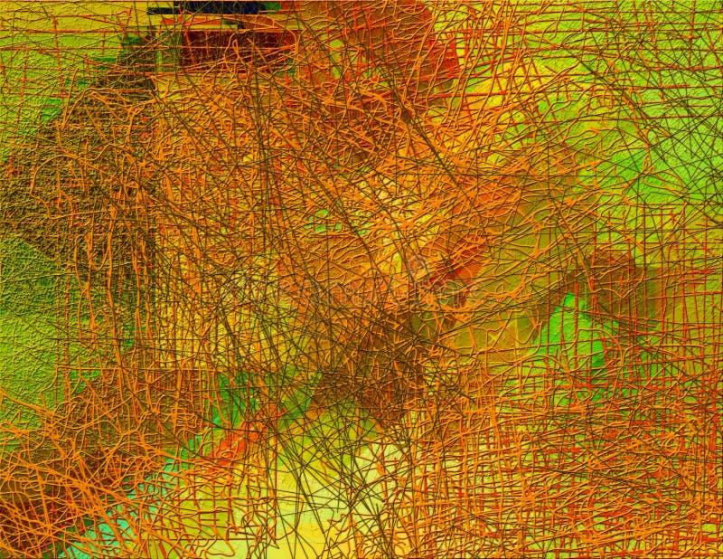 Abstraktes nahtloses Muster mit chaotischer Linie und verschiedenen Farbelementen stock abbildung