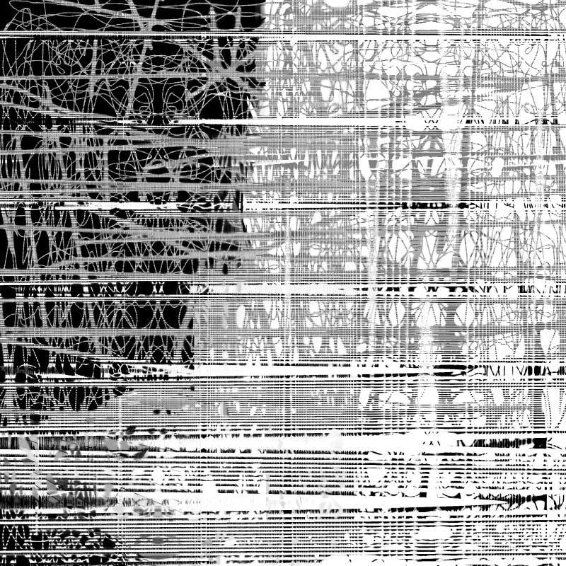 Abstraktes nahtloses Muster mit chaotischer Linie und verschiedenen Farbelementen vektor abbildung