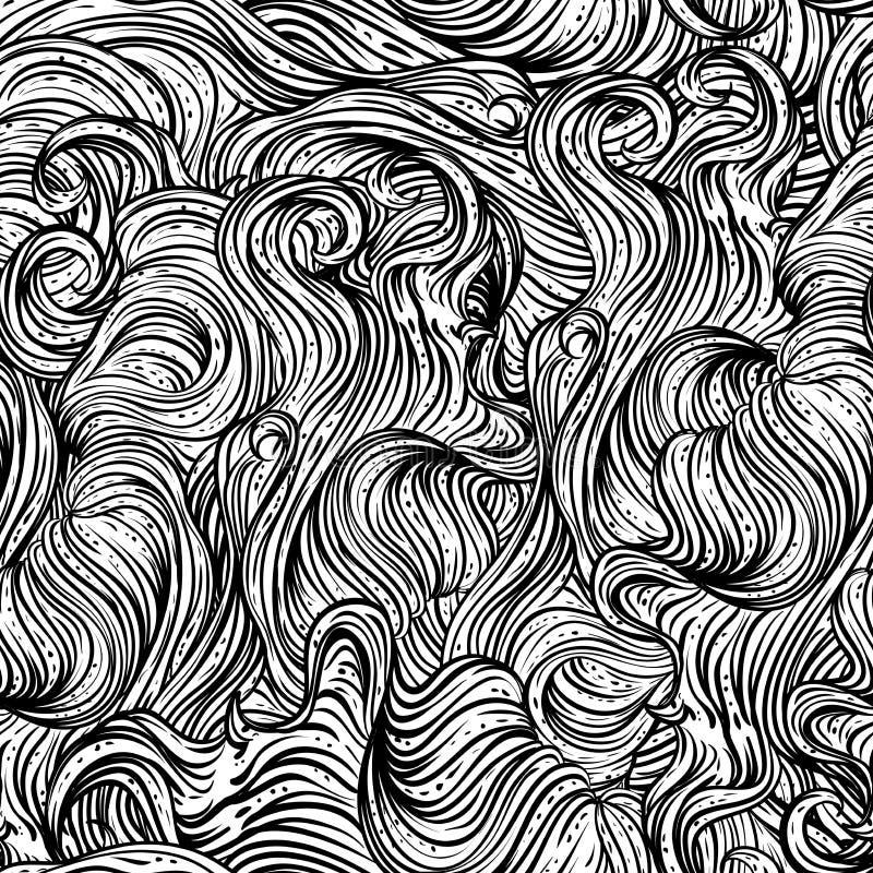Abstraktes nahtloses Muster mit dem gewellten Haar Schwarzweiss-Hand gezeichnete Vektorillustration vektor abbildung