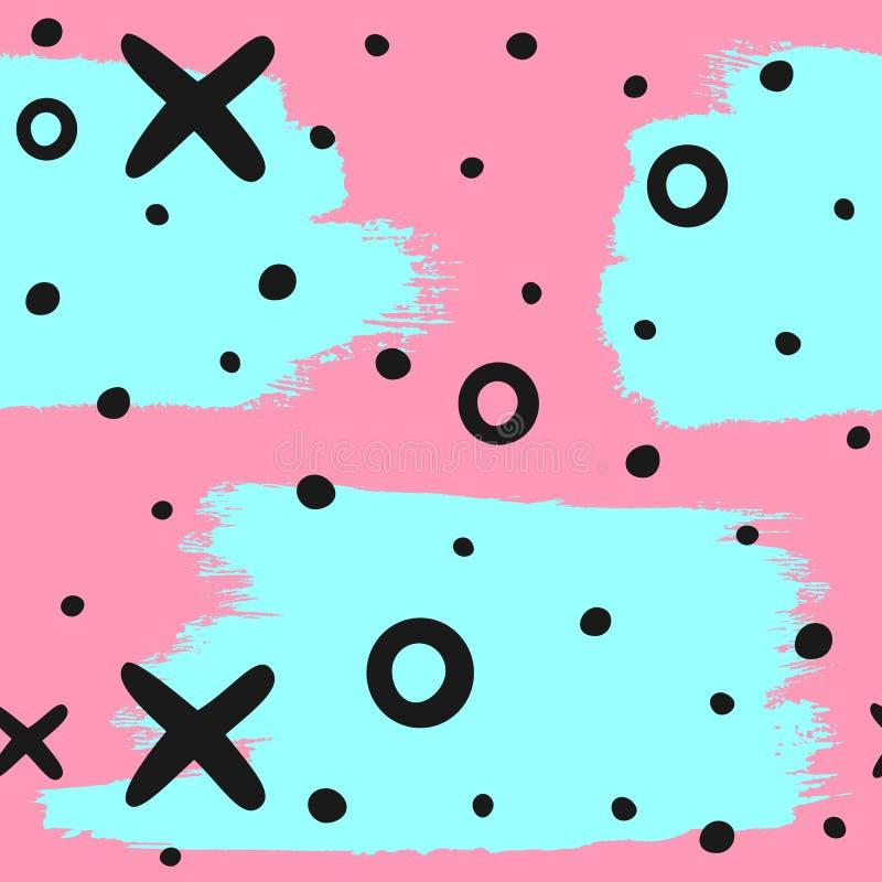 Abstraktes nahtloses Muster mit den Bürstenanschlägen, runden Stellen, Kreuzen und Kreisen eigenhändig gezeichnet Schmutz, Skizze vektor abbildung