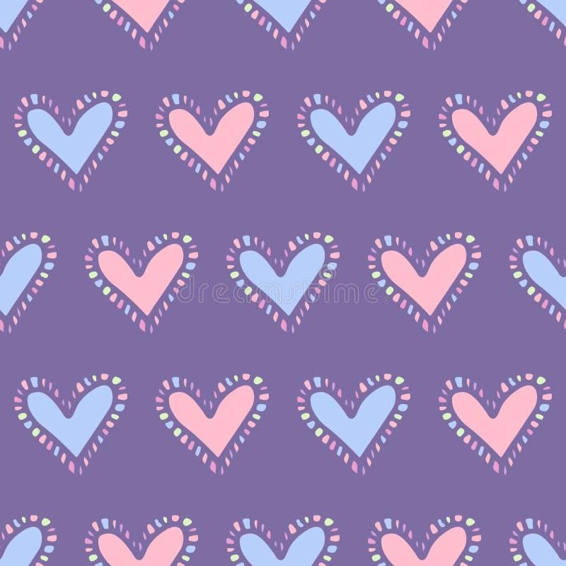 Abstraktes nahtloses Muster mit den blauen und rosa Herzen stock abbildung
