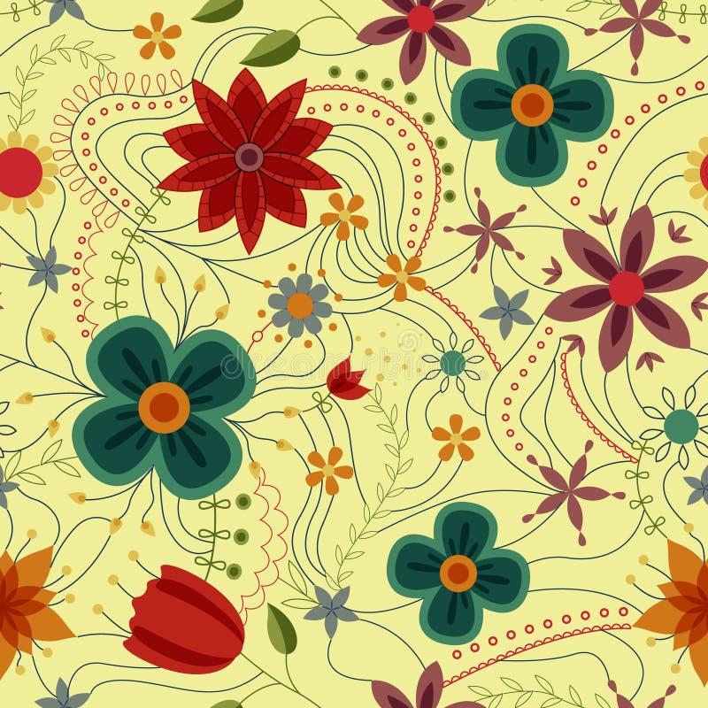 Abstraktes nahtloses Muster mit den Blumen Retro- vektor abbildung
