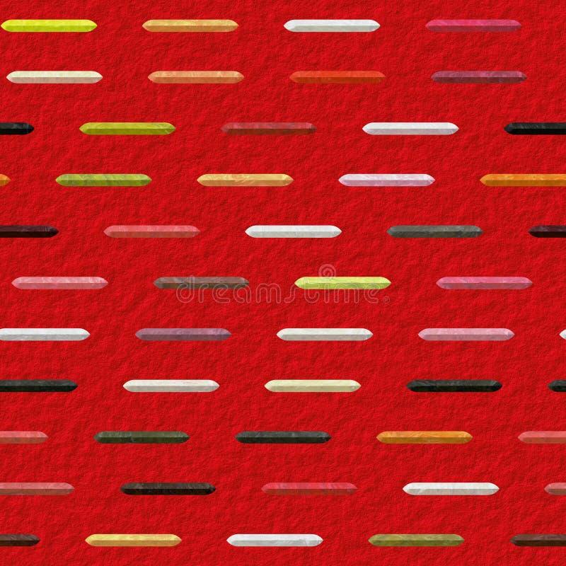 Abstraktes nahtloses Muster mit den weißen, braunen, rosa, grünen, roten und schwarzen gemarmorten Stangen lizenzfreie abbildung
