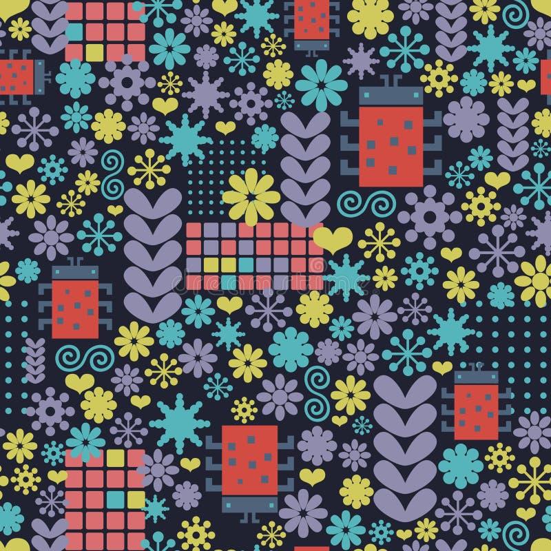 Abstraktes nahtloses Muster mit geometrischen Blumen und Wanzen vektor abbildung