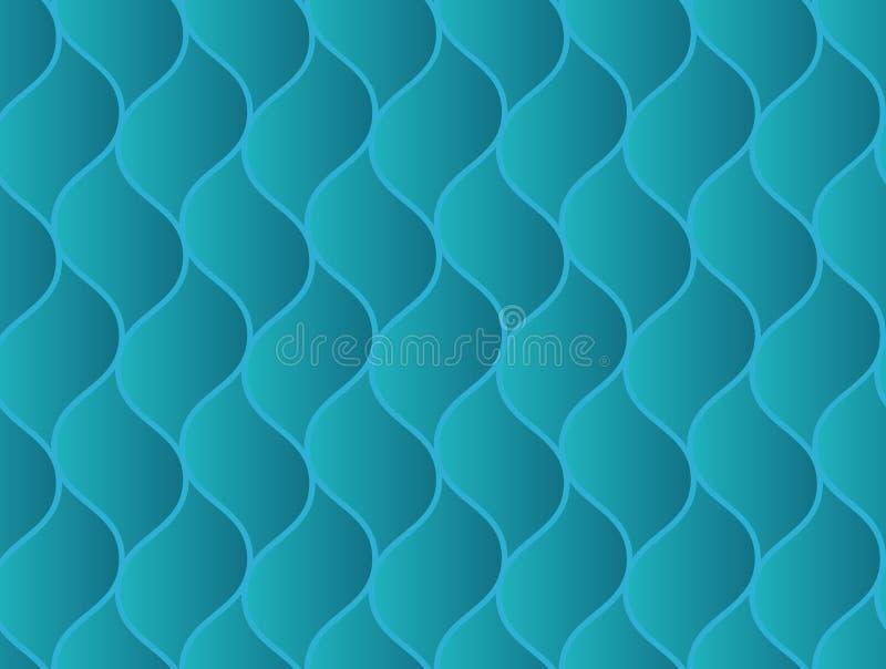 Abstraktes nahtloses Muster mit gewellten schuppigen Elementen der blauen geometrischen Wanne vektor abbildung