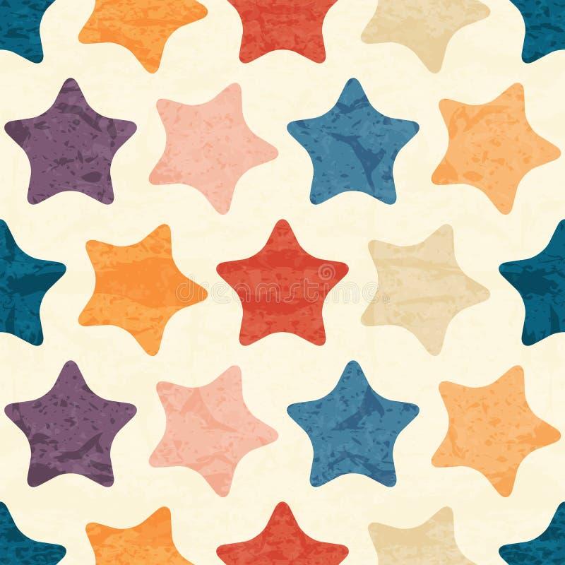 Abstraktes nahtloses Muster mit grunged bunten Sternen lizenzfreie abbildung