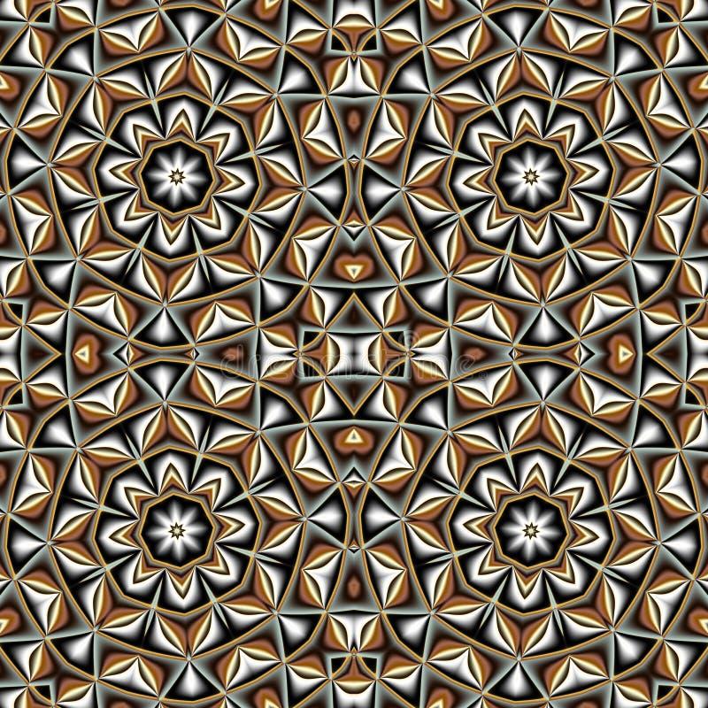 Abstraktes nahtloses Muster mit Kreis und geometrischer Verzierung vektor abbildung