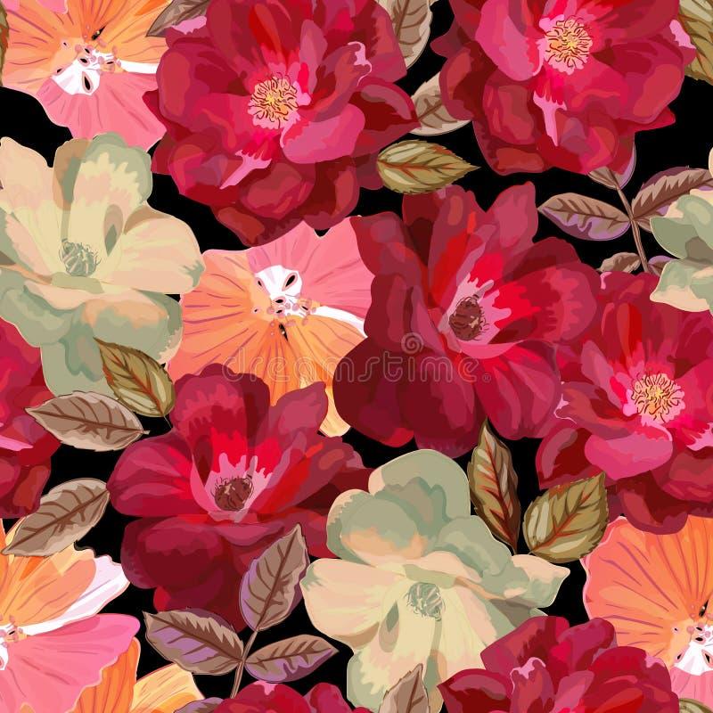 Abstraktes nahtloses Muster mit lokalisierten Hand gezeichneten roten Rosen an lizenzfreie abbildung