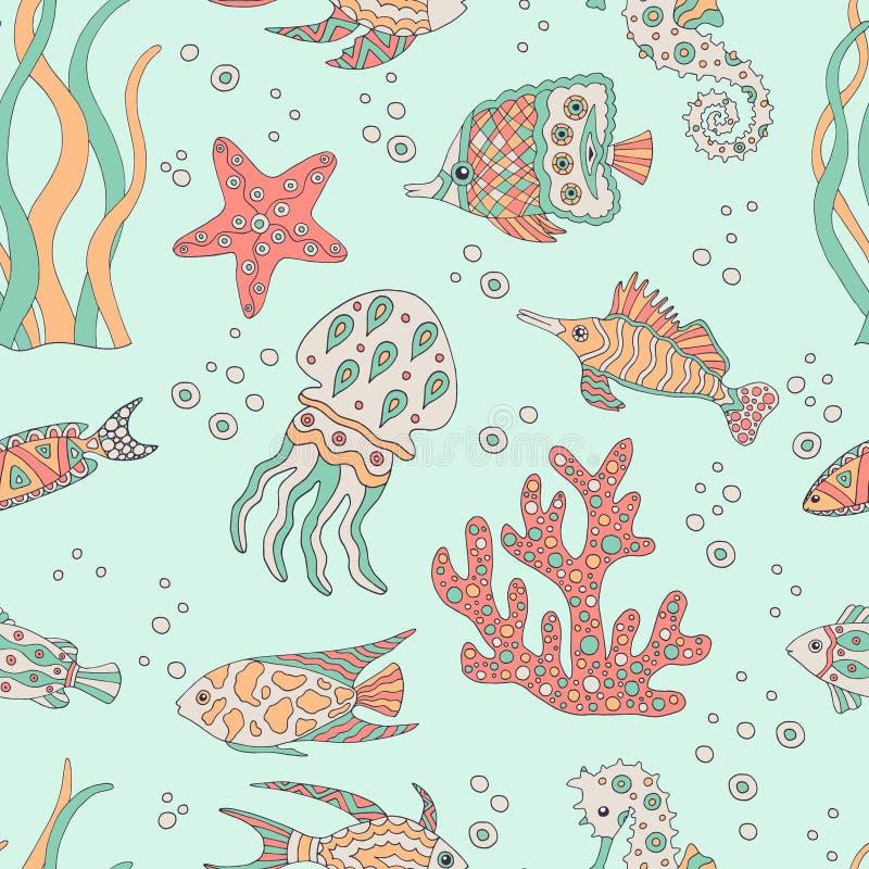 Abstraktes nahtloses Muster mit Seefisch lizenzfreie abbildung