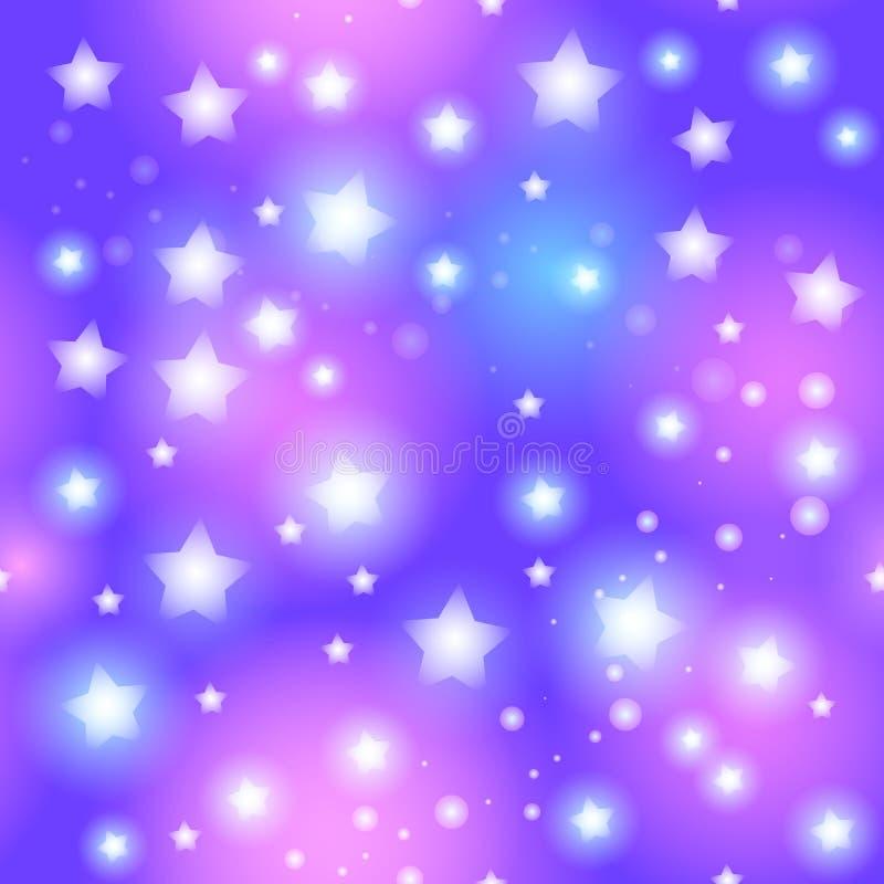 Abstraktes nahtloses Muster mit Stern auf blauem Hintergrund Vektor stock abbildung