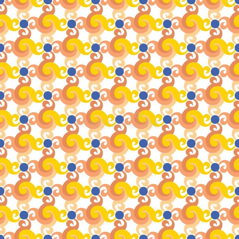 Abstraktes nahtloses Muster mit Strudeln oder Torsion, Blätter und blaue Punkte stock abbildung