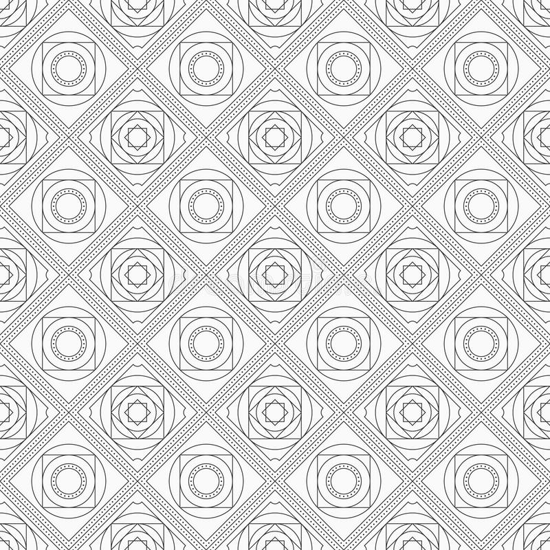 Abstraktes nahtloses Muster mit symmetrischer geometrischer Verzierung lizenzfreie abbildung
