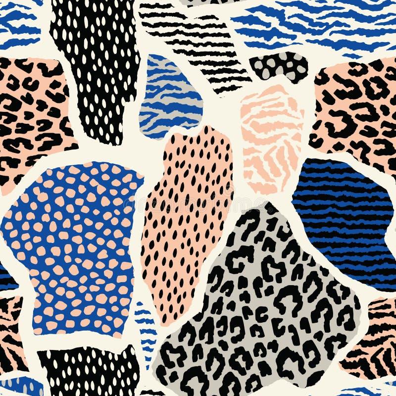Abstraktes nahtloses Muster mit Tierdruck Modische Hand gezeichnete Beschaffenheiten vektor abbildung