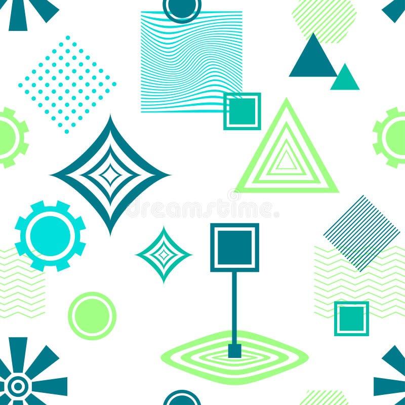 Abstraktes nahtloses Muster in postmodern blauem Grün Memphis Styles auf Weiß vektor abbildung