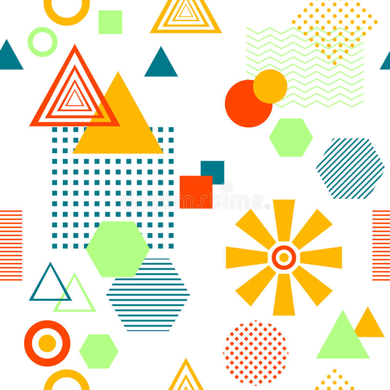 Abstraktes nahtloses Muster in postmodern Memphis Style auf Weiß stock abbildung